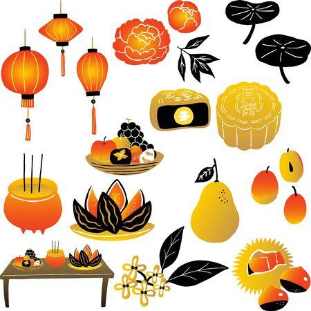 harvest moon china culture  イラスト・ベクター素材