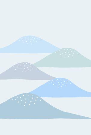 Japanese mourning card blue mountains Ilustração