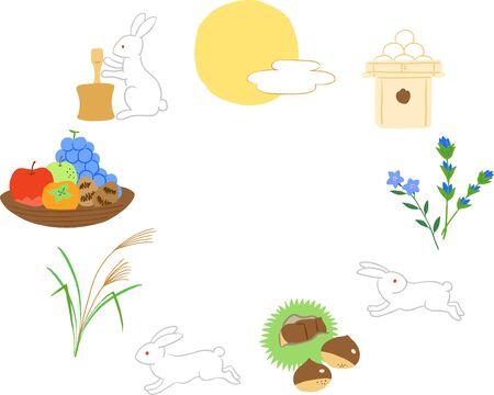 Japanese harvest moon festival set, moon, rabbit, autumn japanese food