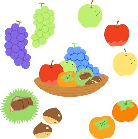 autumn japanese fruit set, apple, grape, kaki, chestnut, pear Stock Illustratie