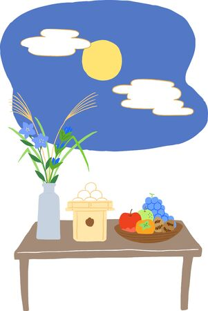 harvest moon with japanese food, flower Stock Illustratie