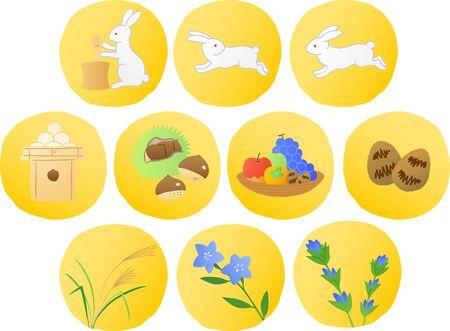 japanese harvest moon festival icon set