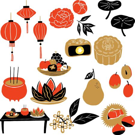 mid autumn festival food and flower set  イラスト・ベクター素材