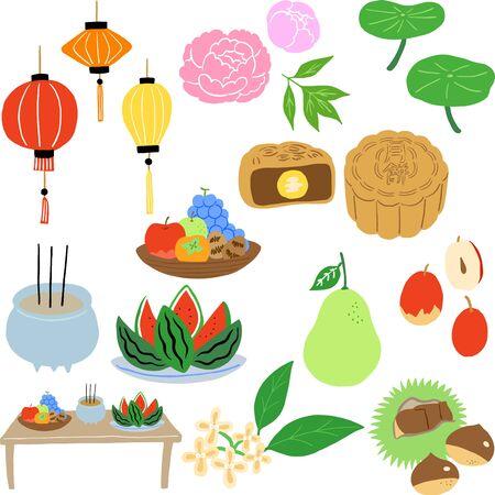 mid autumn festival food and flower set Stock Illustratie