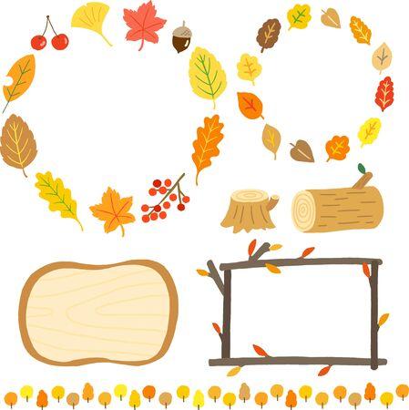 autumn colorful leaf frame set