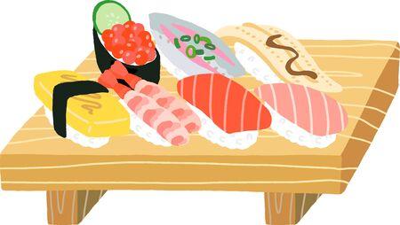 fish and egg sushi set Illustration