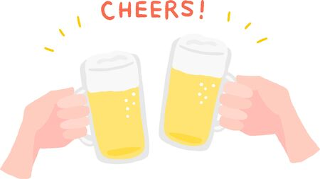 cheers hand with beer glass 向量圖像