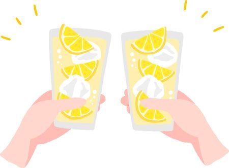 cheers hand with lemon sour glass 向量圖像