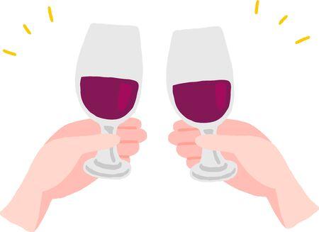 cheers hand with wine glass 向量圖像
