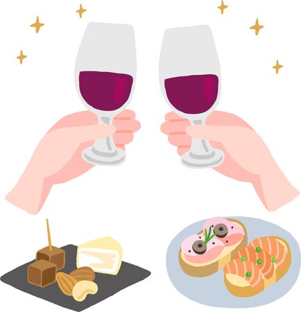 cheers hand with wine glass and finger food