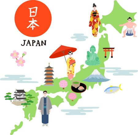 japan map with japanese people and building