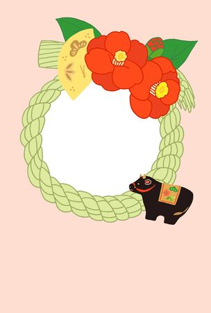 japanese new year card japanese decoration camellia with black cow