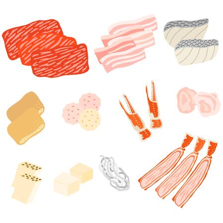 japanese meat and fish for hot pot set Фото со стока - 136076206