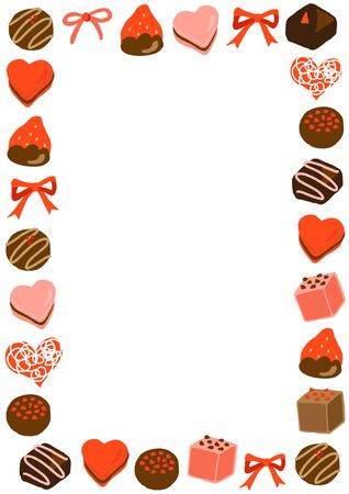 valentine's day praline chocolate frame 矢量图像