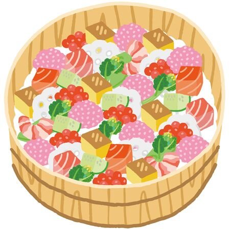 japanese girls festival food sushi vegetable and fish on rice