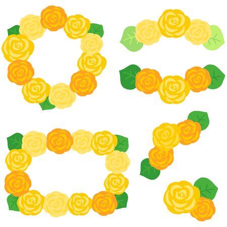 yellow rose decoration frame set