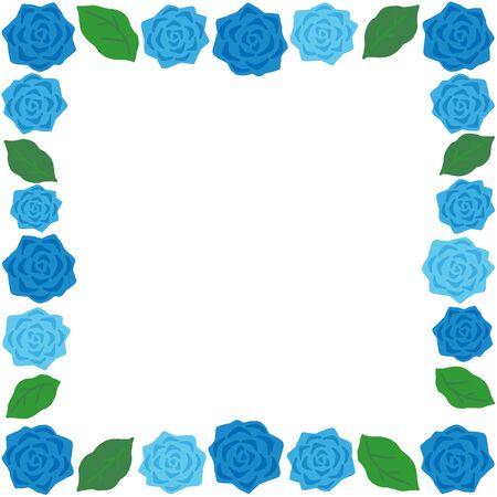 blue rose decoration square frame Ilustração