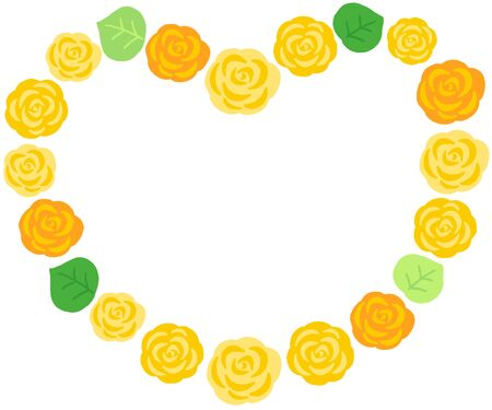 yellow rose decoration heart frame