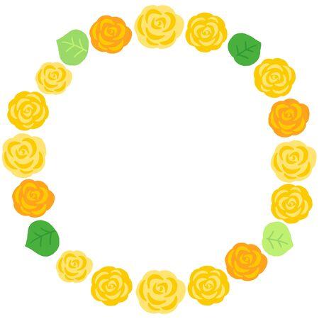 yellow rose decoration circle frame Ilustração