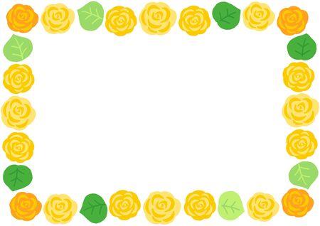 yellow rose decoration square frame