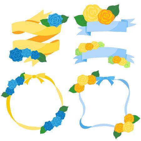 yellow and blue rose decoration frame ribbon set