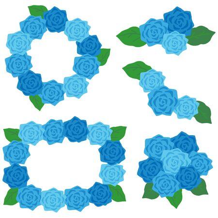 blue rose decoration frame set