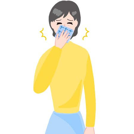 sneezing aged woman, handkerchief on the mouth 일러스트
