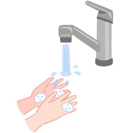 How to wash hands, wash away the foam Иллюстрация