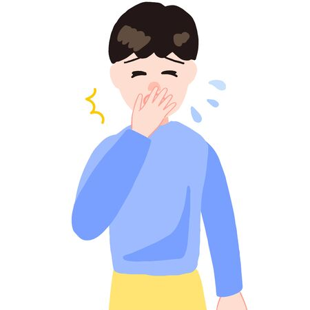 sneezing boy, hand on the mouth Ilustracja