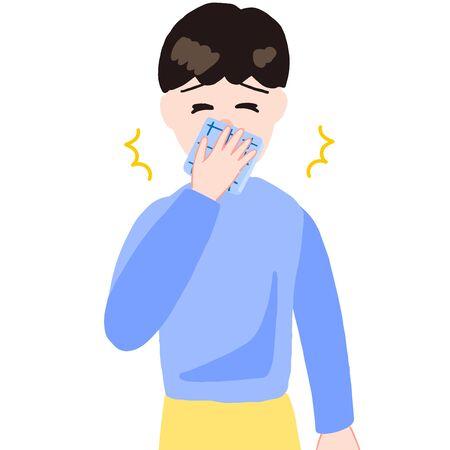 sneezing boy, handkerchief on the mouth 일러스트