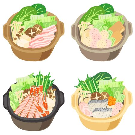 japanese food vegetable and meat hot pot set
