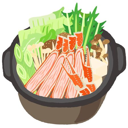 japanese food vegetable and crab hot pot