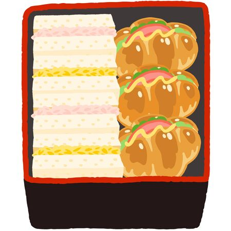 Japanese lunch box, egg and tuna and ham sandwich