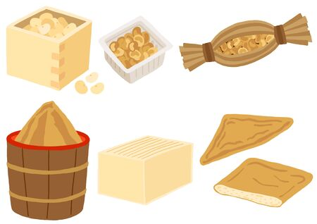 Japanese food produce, noto, miso paste, tofu and deep-fried bean curd