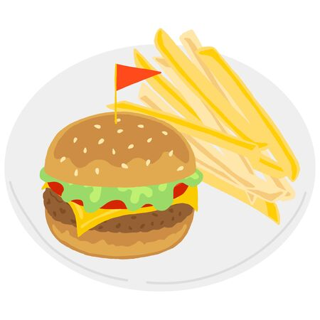hamburger and fries on white plate