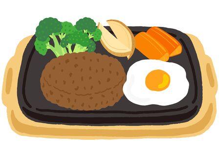 hamburg steak with fried egg and vegetables  イラスト・ベクター素材