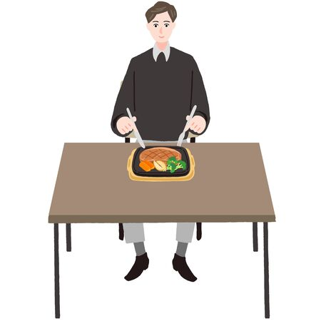 Man eating steak at a table  イラスト・ベクター素材