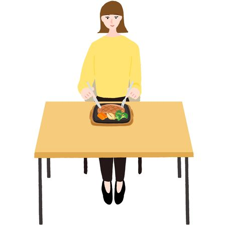 Woman eating steak at a table  イラスト・ベクター素材