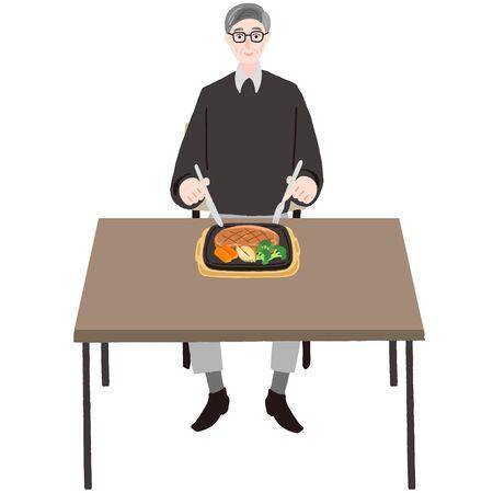 Elderly man eating steak at a table