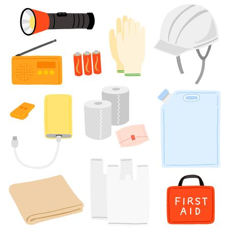 emergency supplies illustration vector set