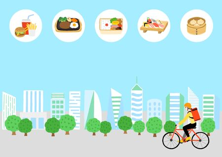 The woman who carries a food delivery bag on her back, road a bicycle in a city. Japanese delivery meal.