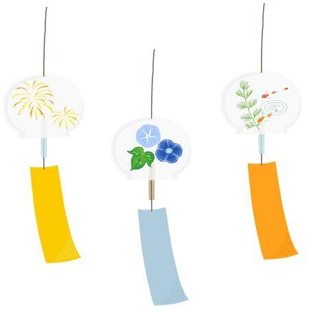 japanese wind bell vector set Vettoriali