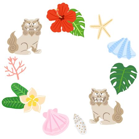 Okinawa Shisa, Seashells and Hibiscus Circular Frame