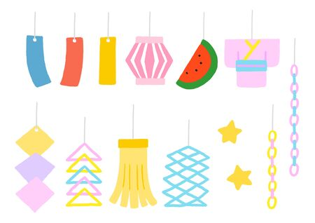 Japanese summer festival Tanabata decoration set Illustration