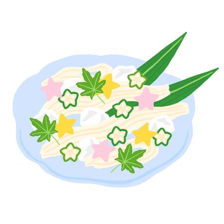 Japanese food, Star-studded somen noodles  イラスト・ベクター素材