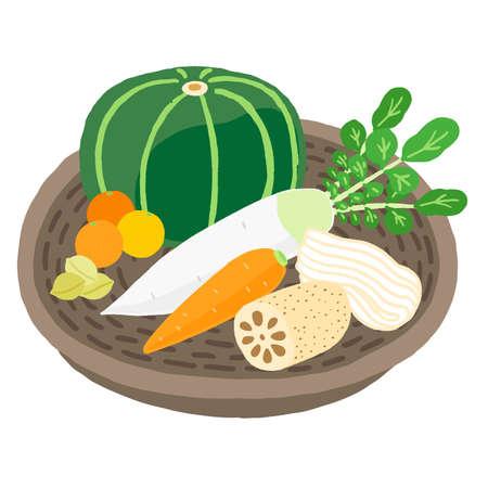 Winter Solstice Assorted Vegetables Vettoriali