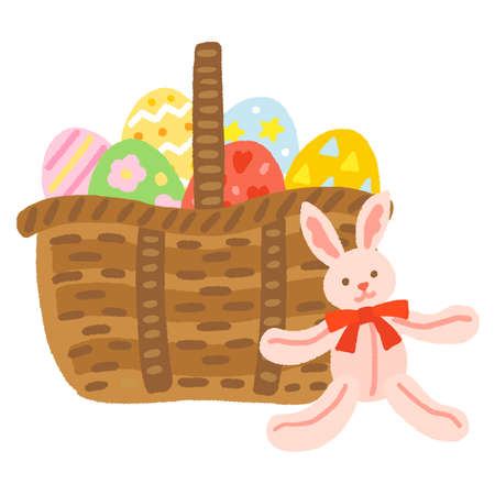 A basket of Easter eggs and a stuffed rabbit