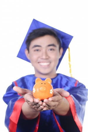 graduated: Graduated Young Asian student isolate on white Stock Photo