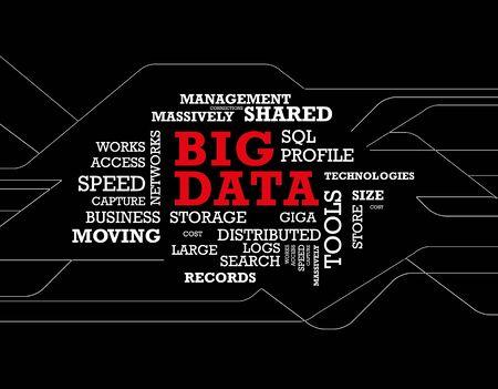 큰 데이터 단어 구름 일러스트