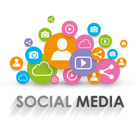 Social Media Concept - Viral Marketing - Vector Illustration Çizim